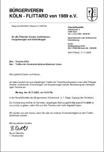 Einladung Vereinsobere Treffen für 2010