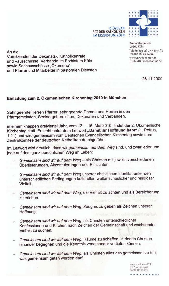 Diözesanrat Einladung Katholikentag 2010