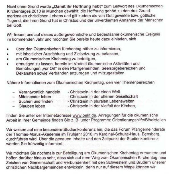 Diözesanrat Einladung Katholikentag 2010 II