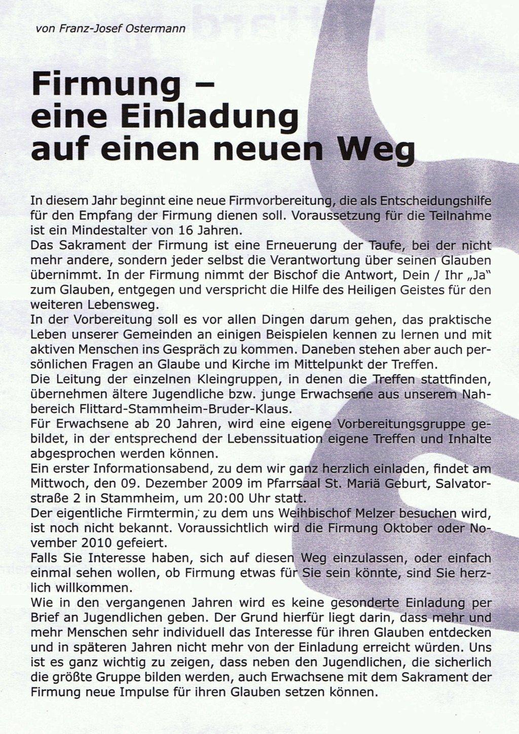Pfarrkontakte 2009 4 F-J. Ostermann: Firmung
