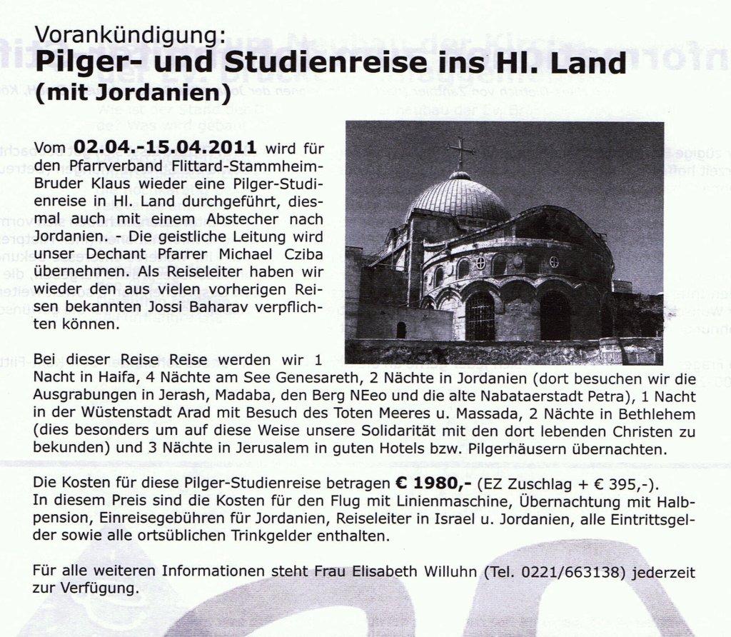 Pilger- und Studienreise ins Heilige Land 2011