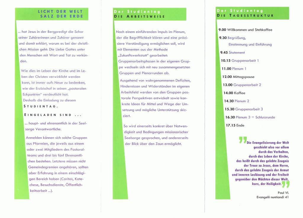 Brief Erzbistum Köln Studientag Missionarische Pastoral