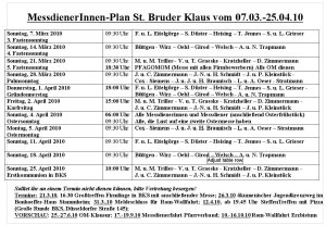 Miniplan Bruder Klaus März April 2010