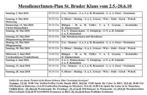 Miniplan St. Bruder Klaus