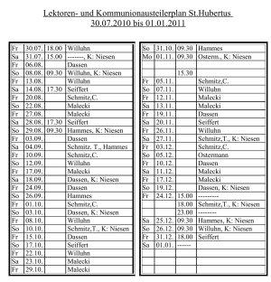 Lektorinnenplan St.Hubertus