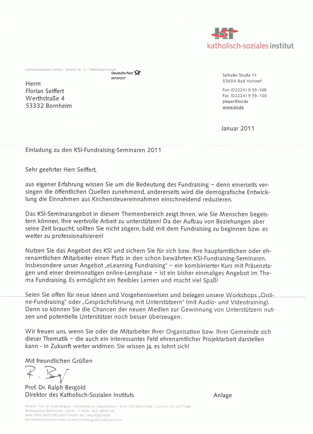 Einladung KSI-Fundraising 2011