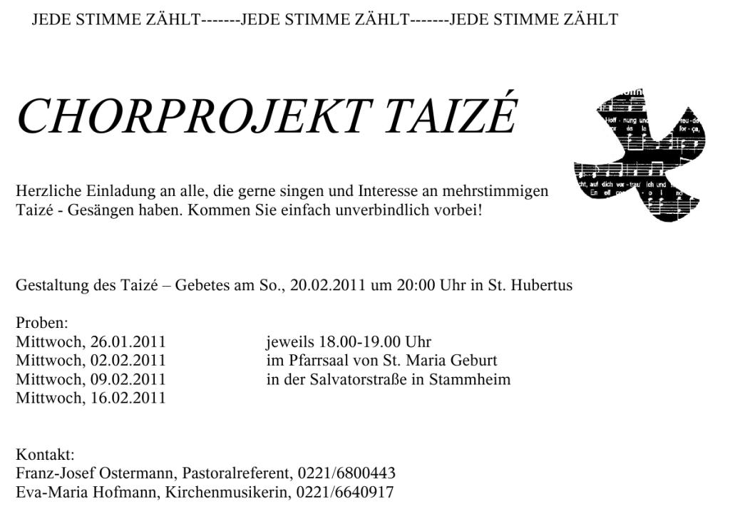 Chorprojekt Taize Termine