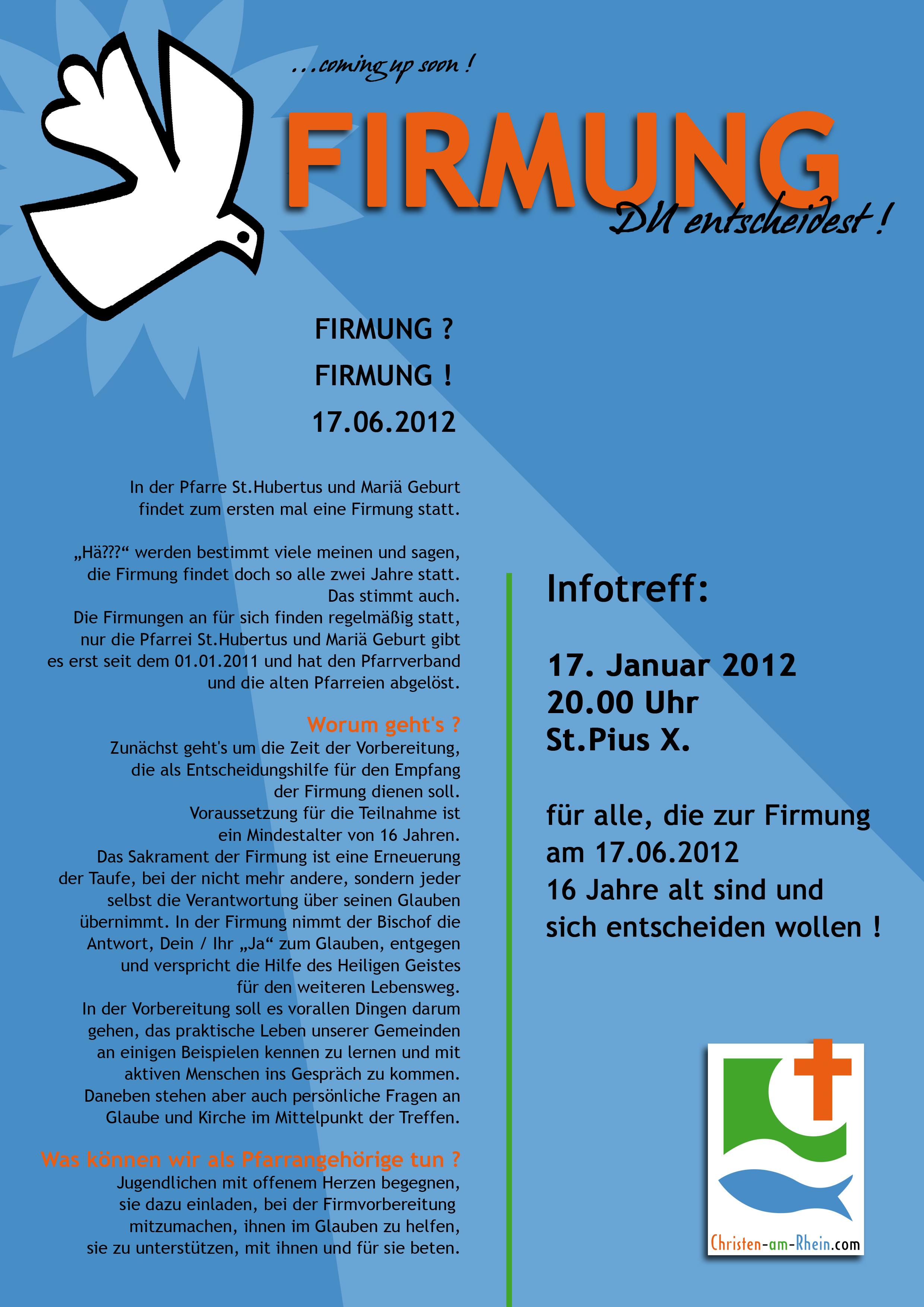 firmung 17.06.2012 – erstes treffen 17.01.2012 « pfarrgemeinderat, Einladung