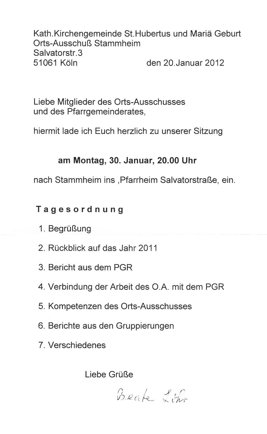 Einladung OA Stammheim und PGR