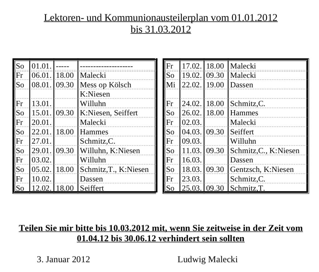 Lektorenplan Hubertus Nr1 - 2012