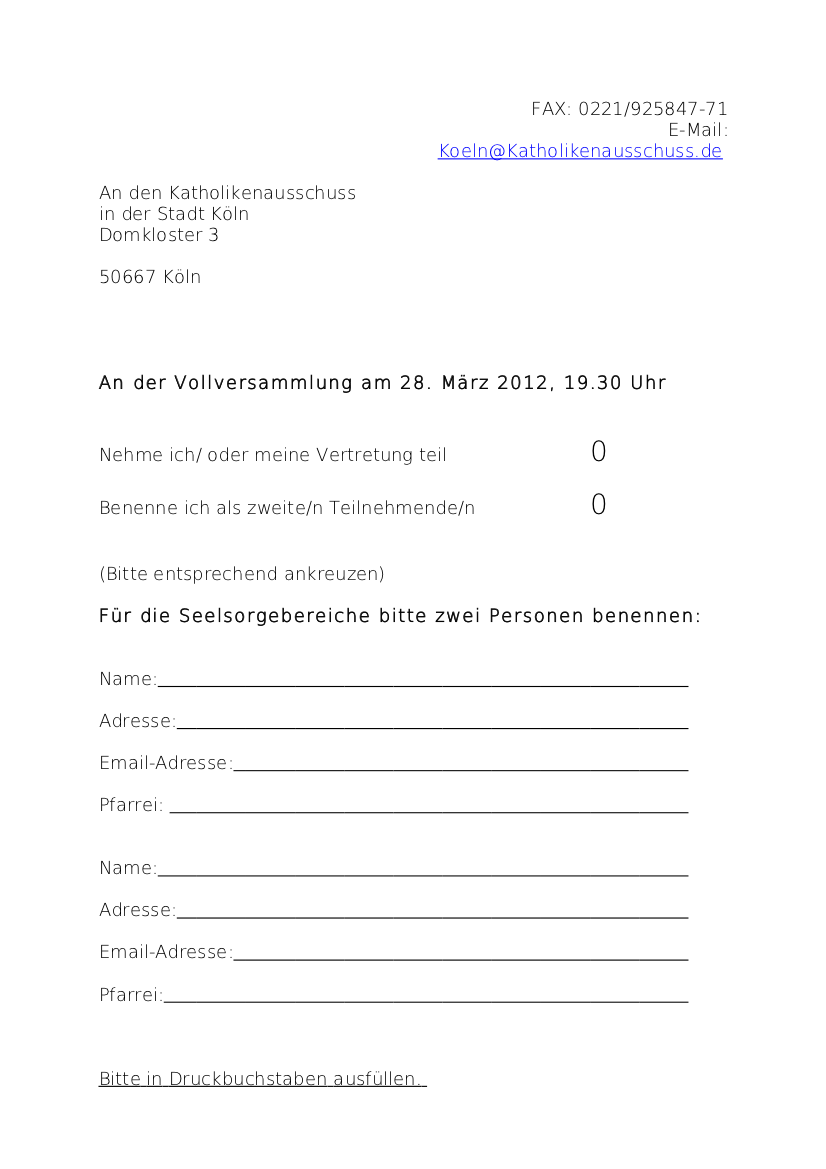 Anmeldung Vollversammlung 2012 PGR