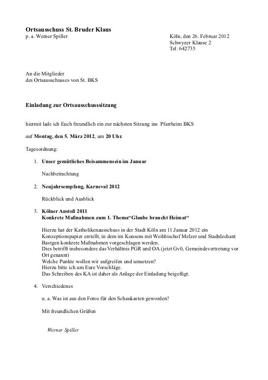 Einladung Ortsausschuss BKS 05.03.2012