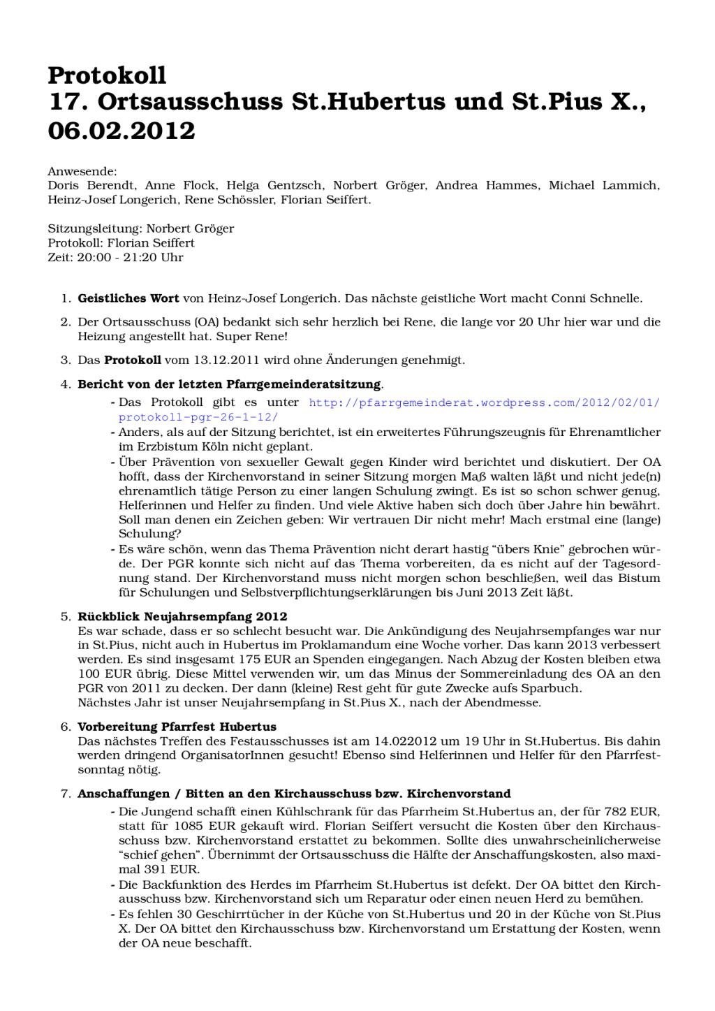 Protokoll Ortsausschuss Hubertus Pius 06.02.2012