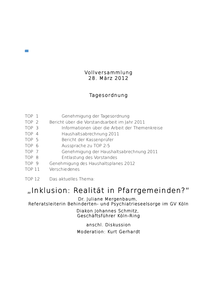 Tagesordnung  2012