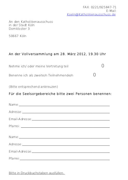 Einladung KA Anmeldung