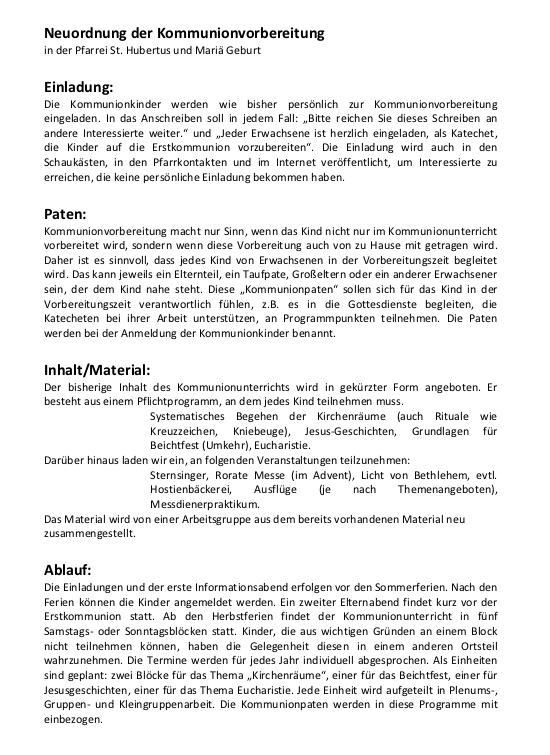 Erstkommunionkonzept 2012