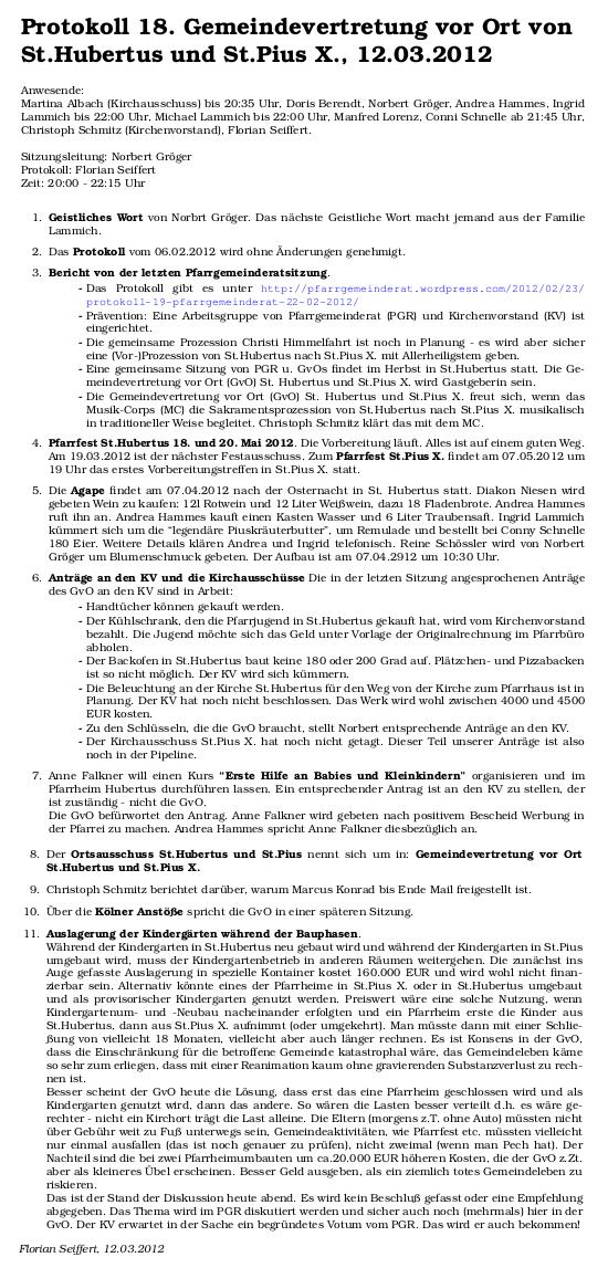 Protokoll GvO Hubertus Pius