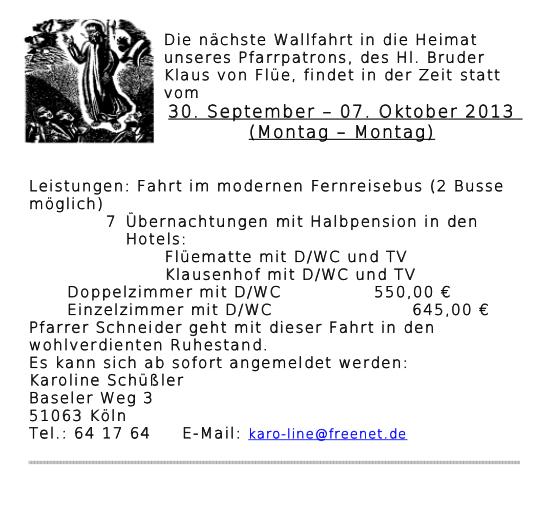 Wallfahrt BKS 2013