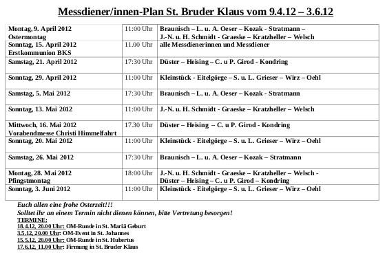 Messdienerplan BKS