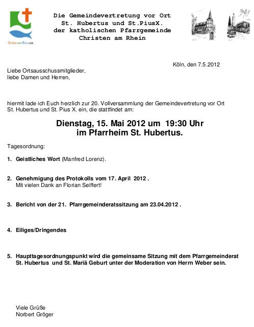 Einladung Ortsausschuss