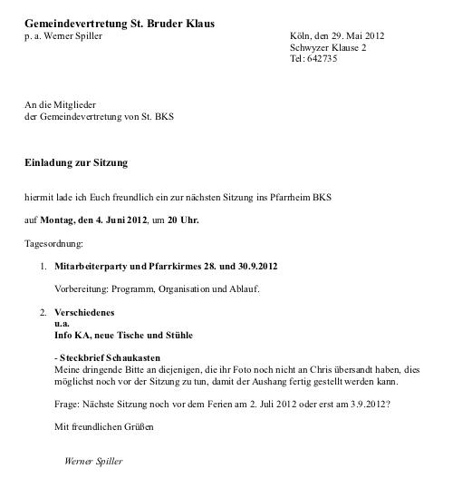 """Einladung """"Gemeindevertretung vor Ort"""" St.Bruder Klaus ..."""