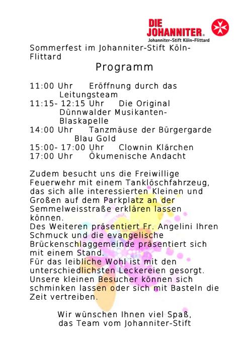 Programm Sommerfest 2012