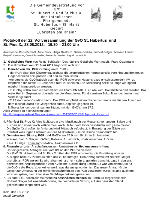 Protokoll GvO Flittard 12.08.2012