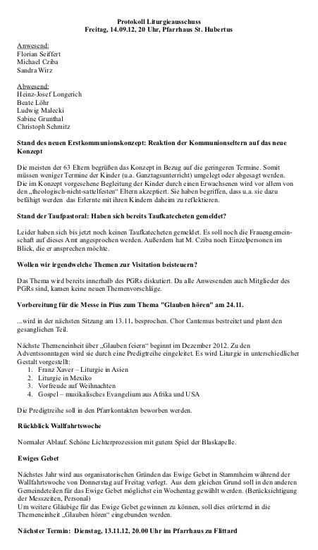 Protokoll Liturgieausschuss 14.09.2012