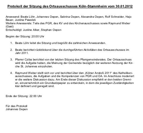 Protokoll Ortsausschuss Stammheim 30.01.2012