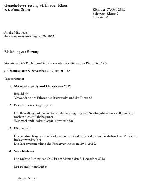 Einladung GVO Sitzung 5. Nov 2012
