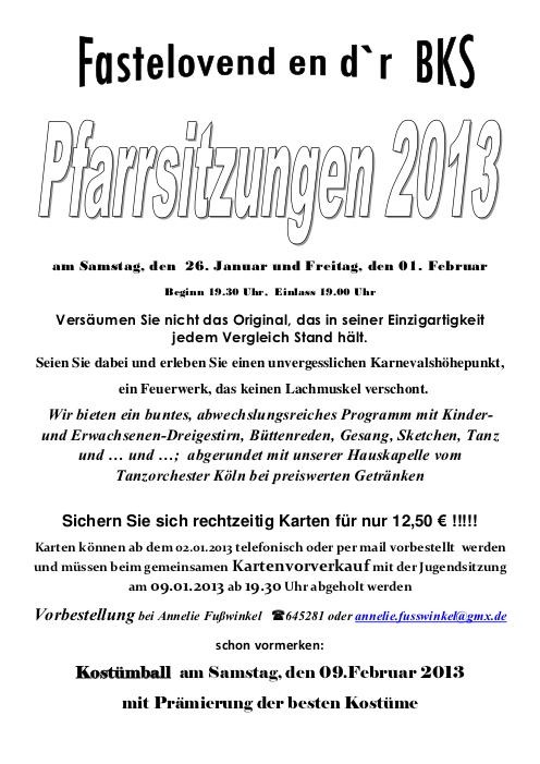 Karneval Einladung Pfarrsitzung 2013