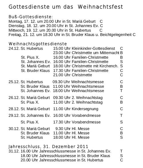 Weihnachtsgottesdienste 2012