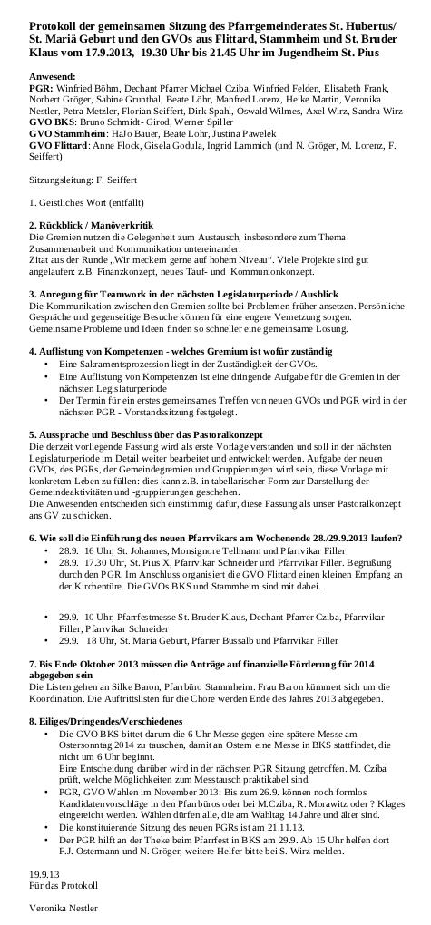 Protokoll PGR GVOs