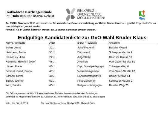 Endgueltige Kandidatenliste GVO Bruder Klaus