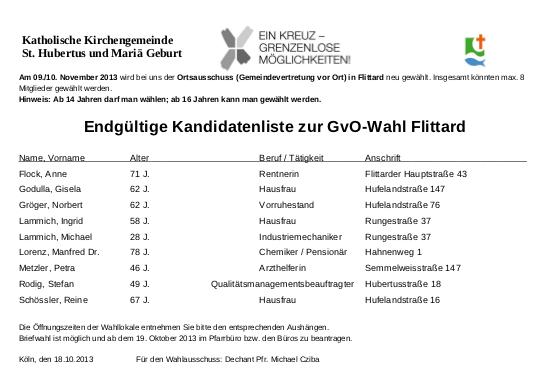Endgueltige Kandidatenliste GVO Flittard