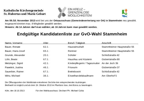 Endgueltige Kandidatenliste GVO Stammheim