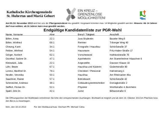 Endgueltige Kandidatenliste PGR
