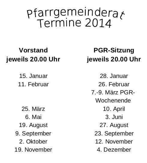 PGR Termine 2014