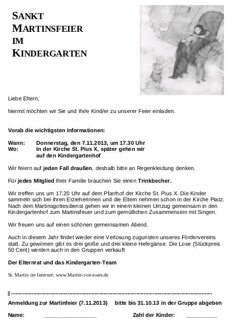 st.martinsfeier kindergarten st.pius x: 07.11.2013 um 17:30h, Einladung