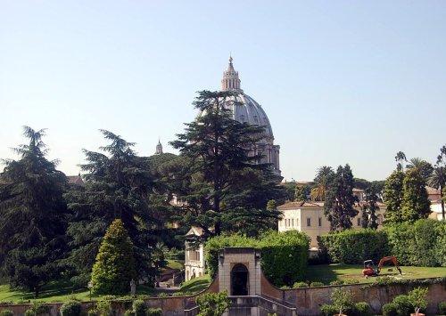 Die Kuppel des Petersdom aus dem Vatikanischen Museum heraus