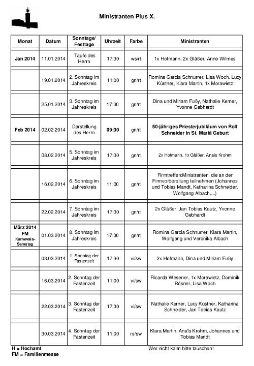 Ministrantenplan St.Pius bis 30.03.2014