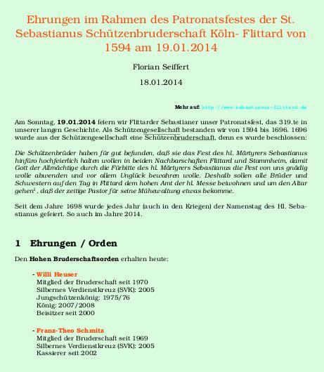 Sebastianusfeier 2014