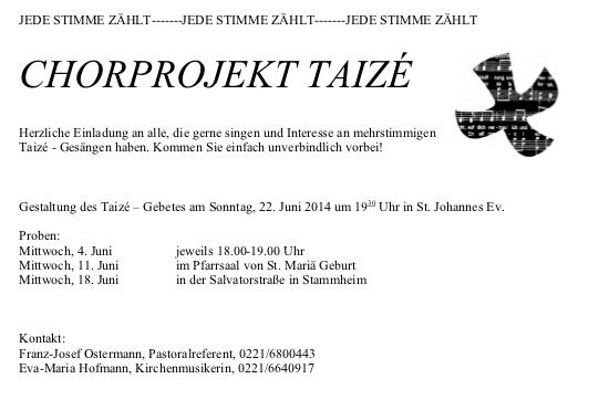 Werbung Chorprojekt 22.6.14