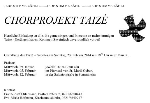 Werbung Chorprojekt 23.2.14