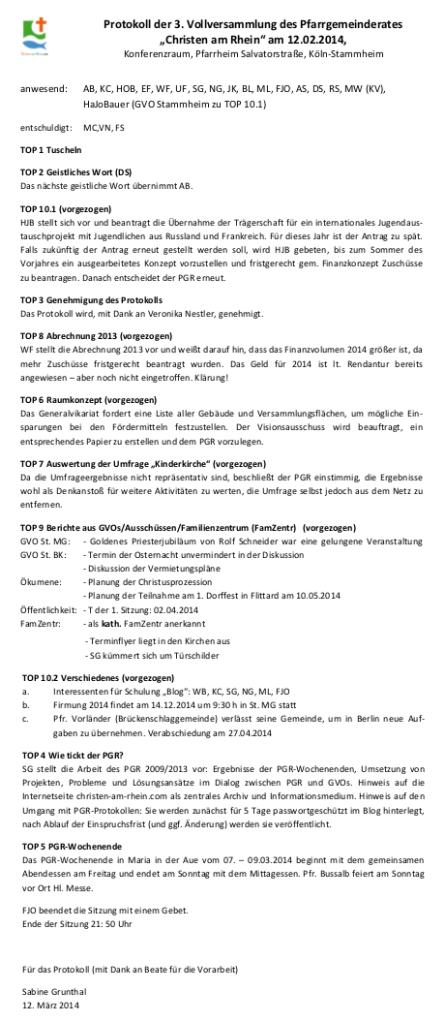 PGR Protokoll 12.02.2014