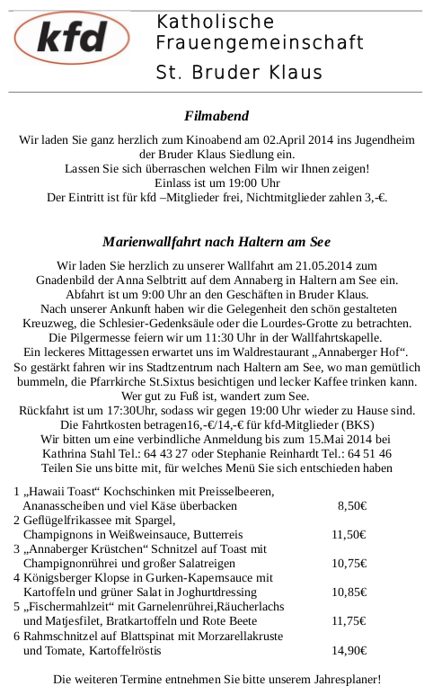 KFD St.Bruder Klaus - April 2014