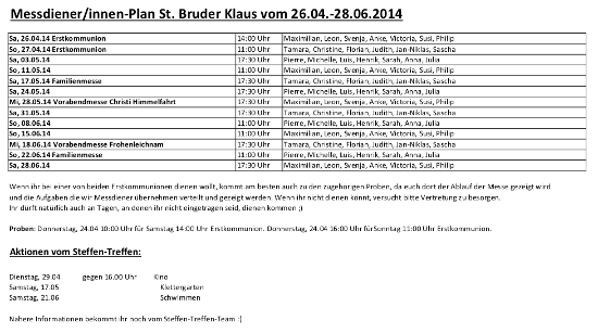 Messdienerplan BKS vom 26.04 28.06.2014