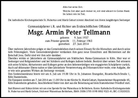 Traueranzeige Tellmann Zeitung