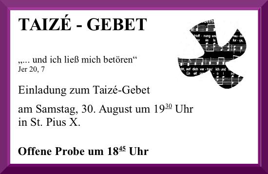 Einladung Taizegebet 30.08.2014