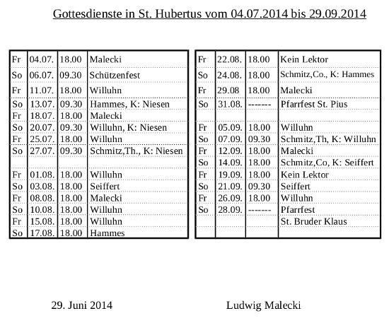 Lektoren Hubertus 2014
